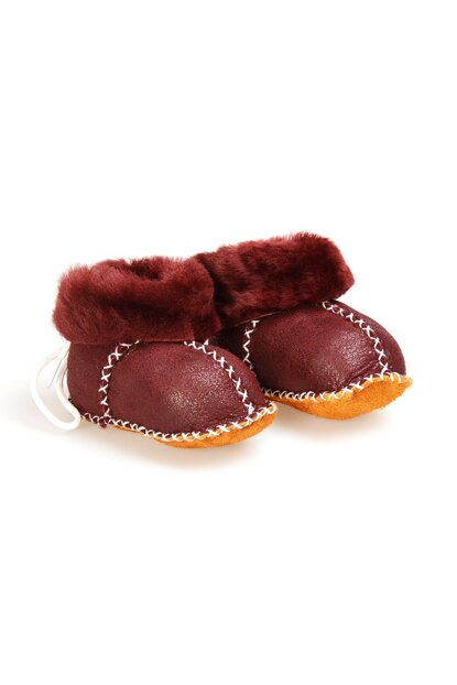 Burgundy Genuine Fur Lace Baby Shoes 141105