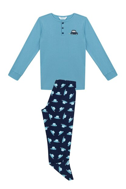 Boy Blue Navy Rib 2Li Pajamas Set PNSAYOJA19SK-MAV