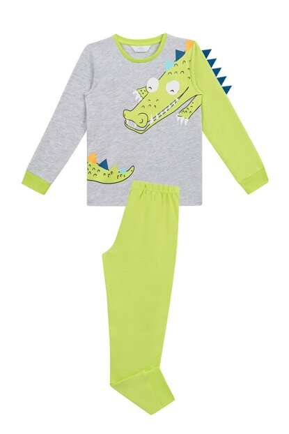 Boys Kids Gray Melange 3D Crocodille 2Li Pajamas Set PNQEBJHR19SK-MLJ