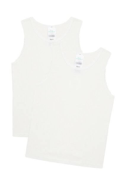 Girls' Off White Organic Cotton 2Li Tank Top PLWKYEDU19SK-OWH