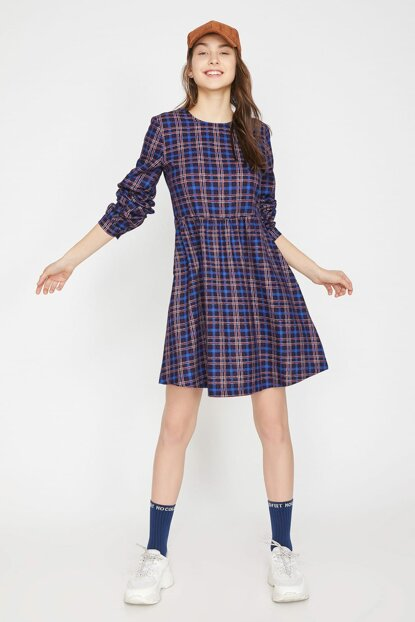 Women's Navy Blue Plaid Dress 9KAL81345JW