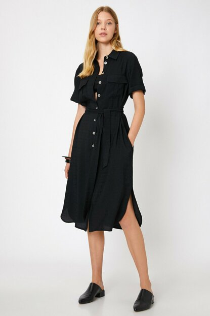 Women's Black Button Detailed Dress 0KAK88628PW