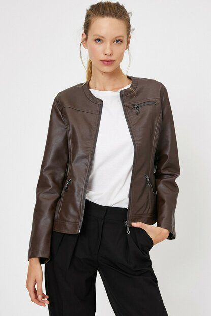 Women's Brown Leather Look Coat 0KAK28236GW