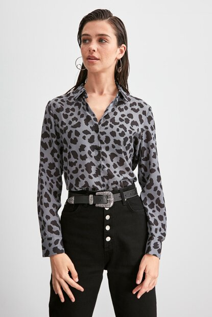 Anthracite Leopard Shirt TWOAW20GO0354