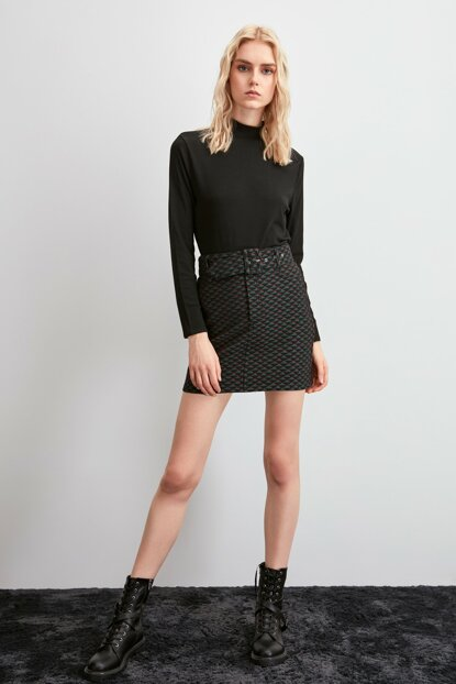 Multi Colored Belt Knitted Skirt TWOAW20ET0647