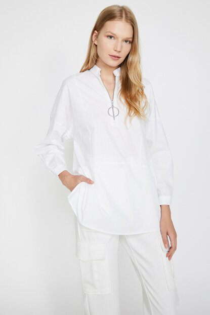 Women's White Collar Detailed Long Sleeve Blouse 0KAK66881IW