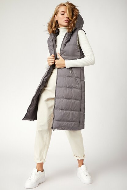 Women's Gray Furry Hooded Inflatable Vest DD00355