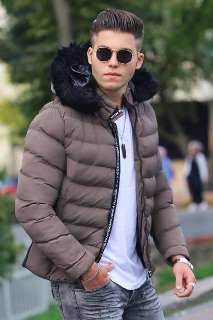 Furry Brown Inflatable Coat M-56