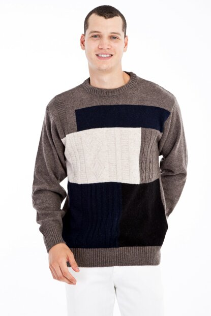 Crew Neck Pattern Sweater 79587