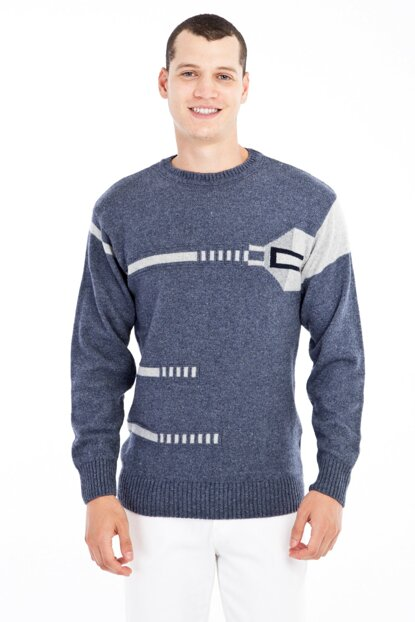 Crew Neck Pattern Sweater 79569