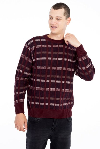 Crew Neck Pattern Sweater 81061