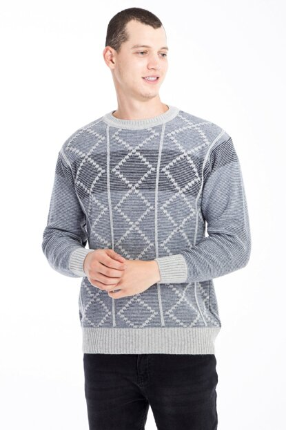 Crew Neck Pattern Sweater 79629