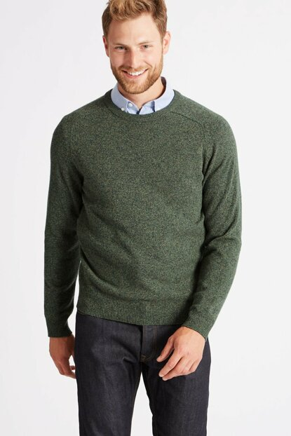 Men's Green Pure Lamb Wool Sweater T30002650M