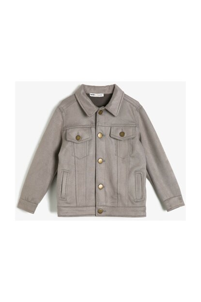 Gray Kid's Button Detail Coat 0KKB56161OW