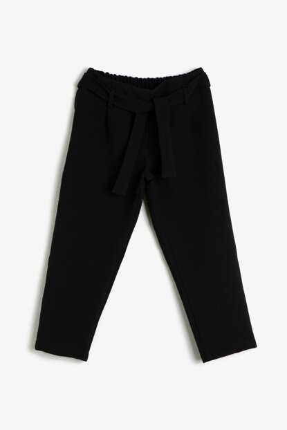 Black Girl Pants with Waist Belt 0KKG47990AW
