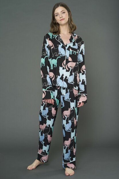 Cat Patterned Pajamas Set FM000003