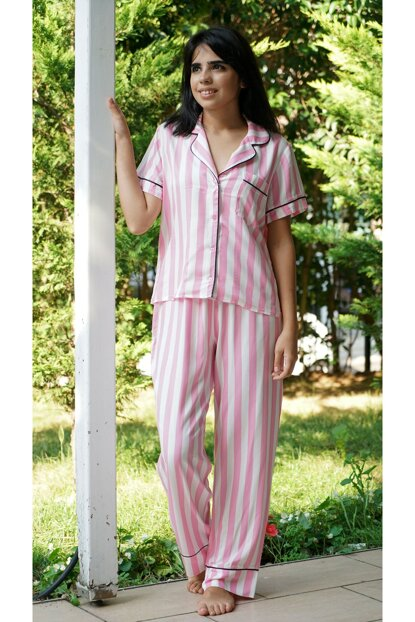 Women's Pink Striped Pajamas Set 100024