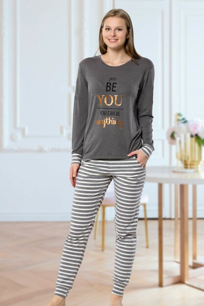 Women's Gray Striped Pajamas Suit 5331