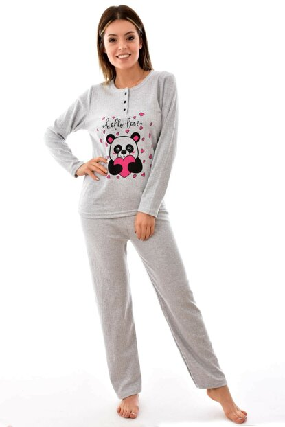 Women's Gray Style Interlock Thick Long Sleeve Pajamas Set 4129