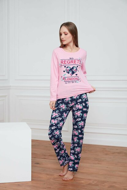 Women's Pink Printed Pajama Set A1382