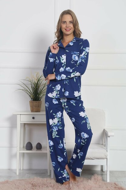 Women's Navy Blue Pajamas Suit 8040980004 TVIE19FWPTK097