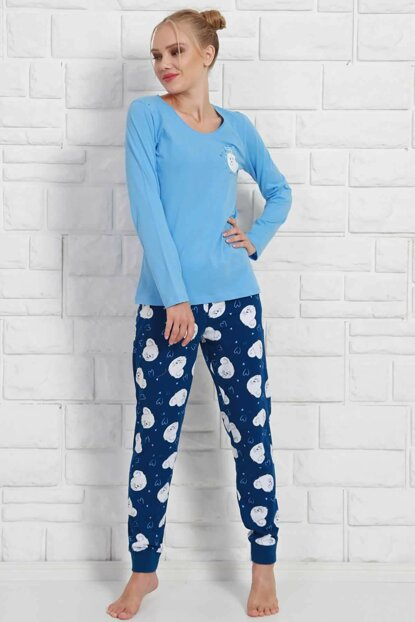 Women's Blue Long Sleeve Pajama Set 9030495584