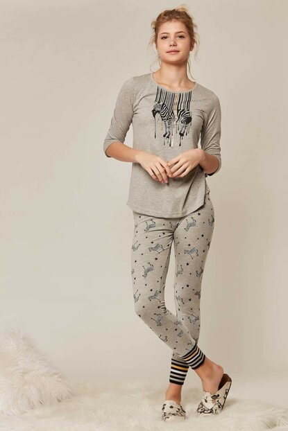 Women's Gray 3/4 Sleeve Pajama Set 902113 Y19W137-9021130302