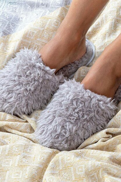 Plushy Plush Ladies Home Slippers 39-41 Gray 10026213