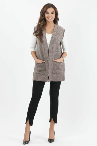 Women's Mink-Sand Snowed Pattern Vest 1199