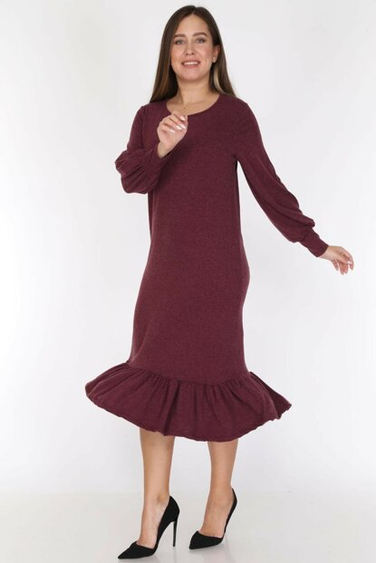 Women Burgundy Burgundy Skirt Ruffle Dress 16E-0785