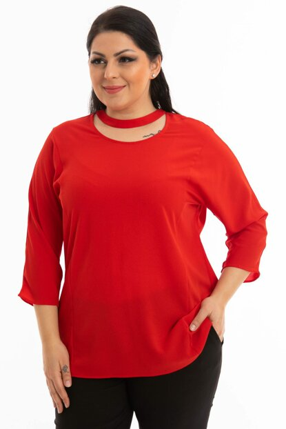 Women's Red Collar Banded Blouse P452