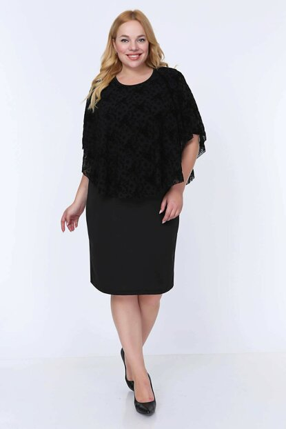 Women's Black Flocked Tulle Shawl Dress 12E-0790