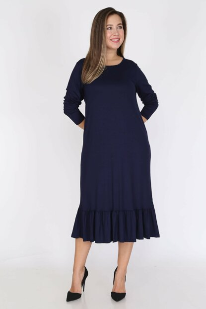 Women Navy Blue Long Sleeve Dress 12C-0787