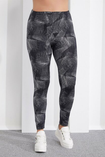 Women's Black Ethnic Pattern Leggings PRA-628773-805837
