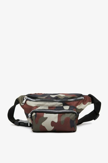 Men's Green Camouflage Patterned Waist Bag 0KBB30016AA