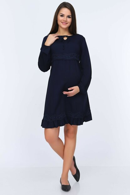 Gör & sin Waist And Hemline Lace Detailed Maternity Tunic 8649