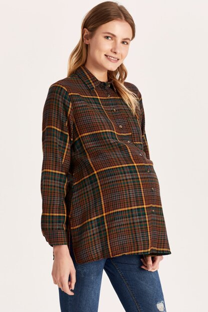 Women's Brown Plaid Lll Maternity Wear Shirt 9WH234Z8