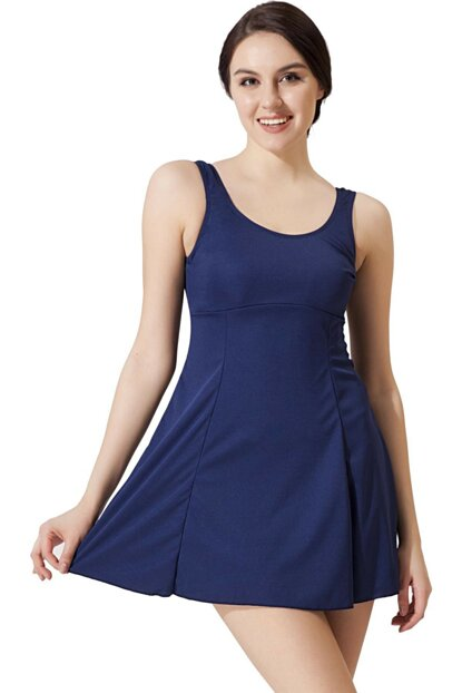 Women Navy Blue Straight Dress Battal Swimwear 6801