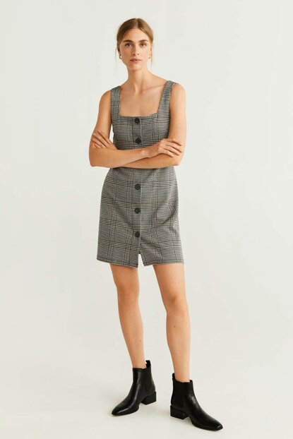 Women's Gray Buttoned Patterned Dress 51043778