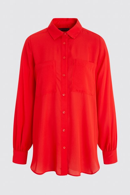 Women Red Long Sleeve Tunic T43001702X