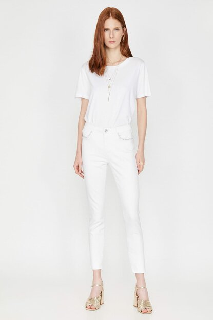 Women's White Jean Detail 9YAK47208MD