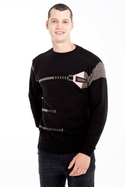 Crew Neck Pattern Sweater 79556