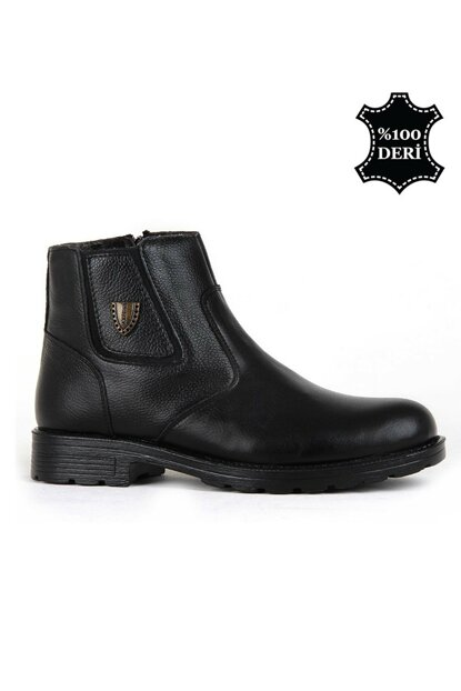 Genuine Leather Black Men Boots PRA-557948-549463