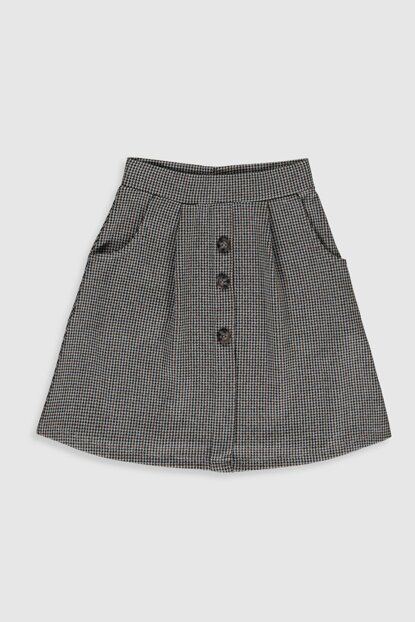 Girl's Brown Plaid Lll Skirt 9WS800Z4