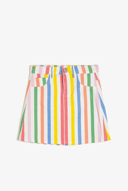 Mixed Girls' Striped Skirt 9YKG77238AW