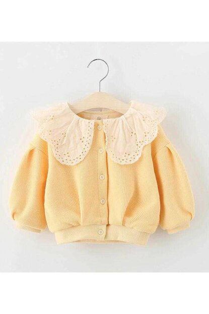 Yellow Girl Lace Collar Cardigan Emmy Yellow LITTLET421