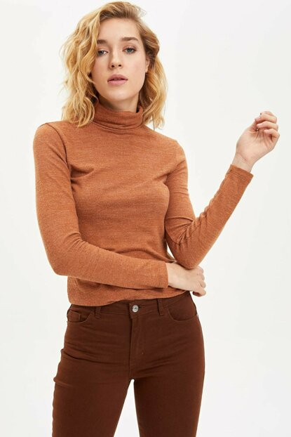 Women's Brown Slim Fit Long Sleeve T-shirt N4133AZ.19CW.BN429