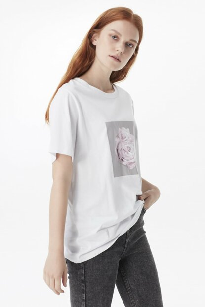 Women's White T-Shirt TW6190070178002