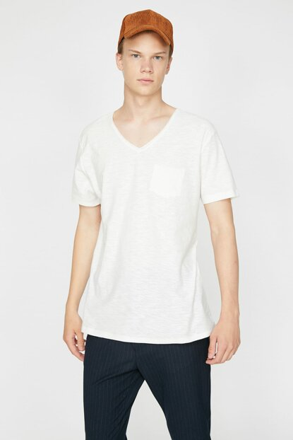 Men's Ecru Short Sleeve T-Shirt 0KAM12058LK