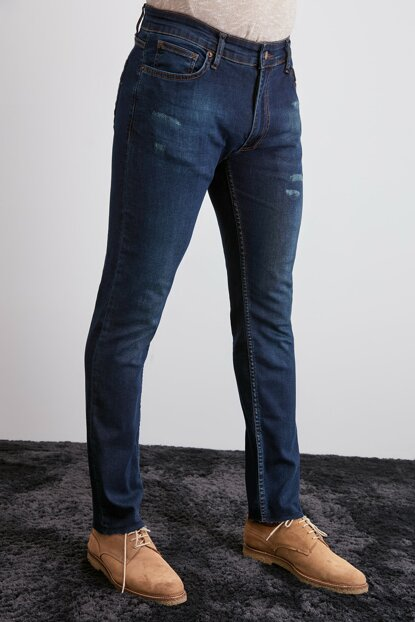 Indigo Men's Cut Trotter Skinny Jeans with Destroyer TMNAW20JE0328